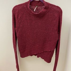 Free People Red Shiraz Crossover Mock Neck Sweater